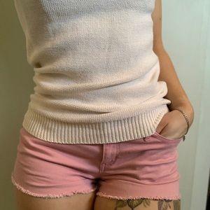 Small, vintage-rose pink jean short shorts